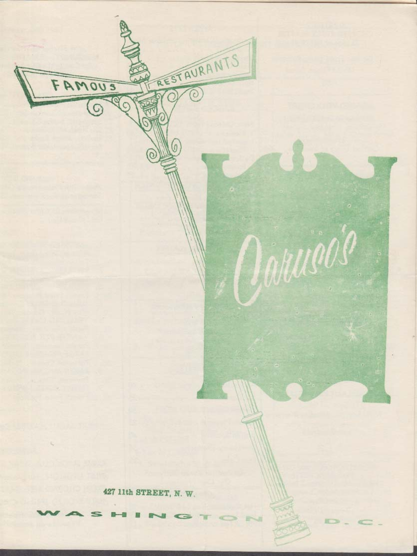 Caruso's Famous Restaurants Washington DC Menu 11/30 1963