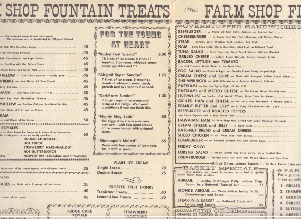 Farm Shop Ice Cream & Sandwiches Menu 1960s Connecticut chain