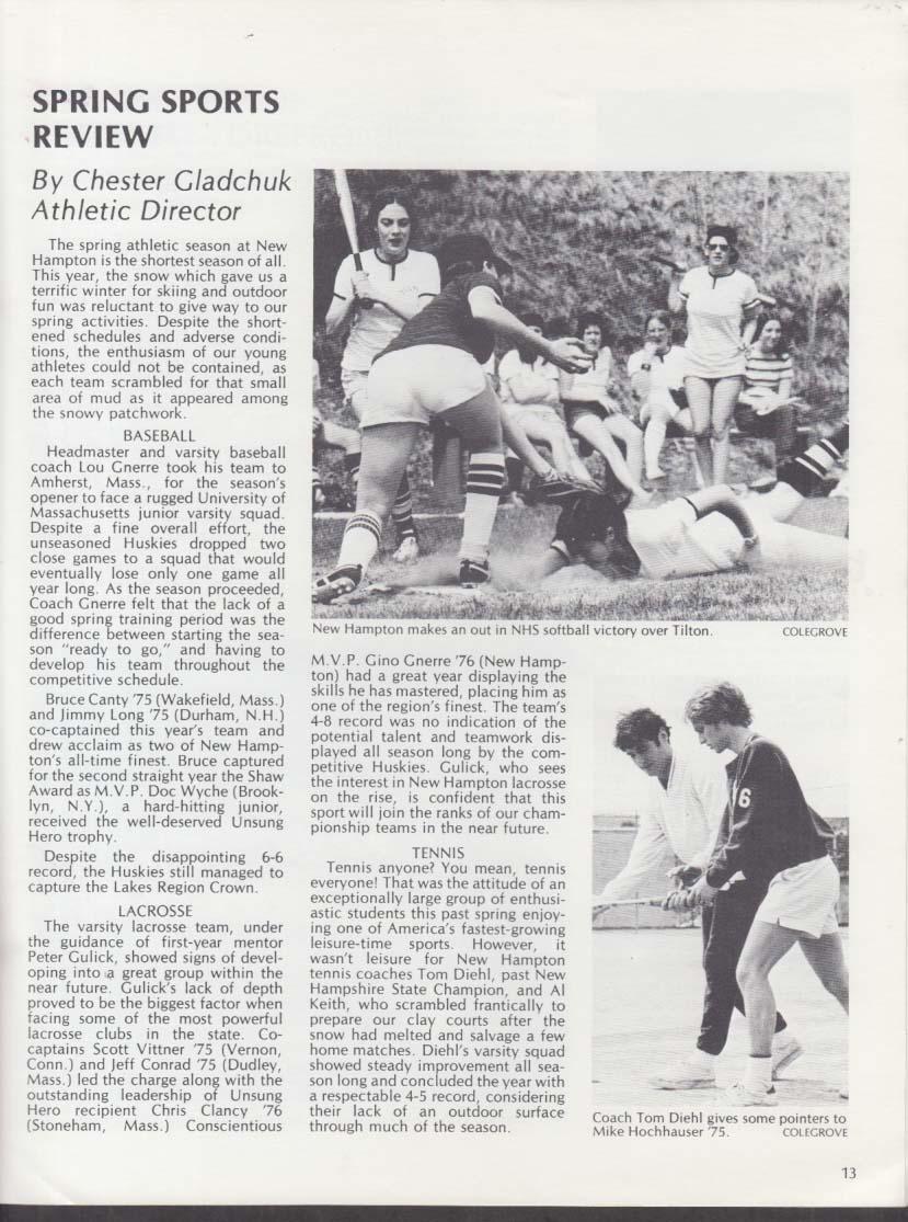 New Hampton School Bulletin Spring-Summer 1975 New Hampshire