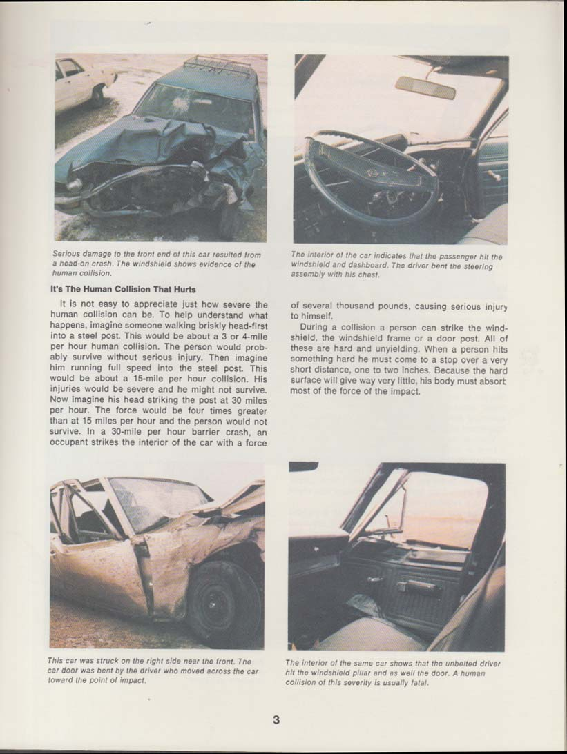 Transport Canada Road Safety booklet Human Collision car accident injuries 1982