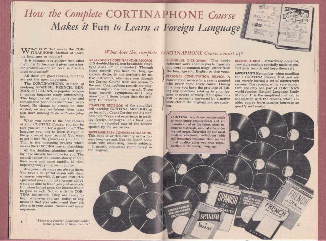 Corina Short Cut Learn Languages Information Packet 1959
