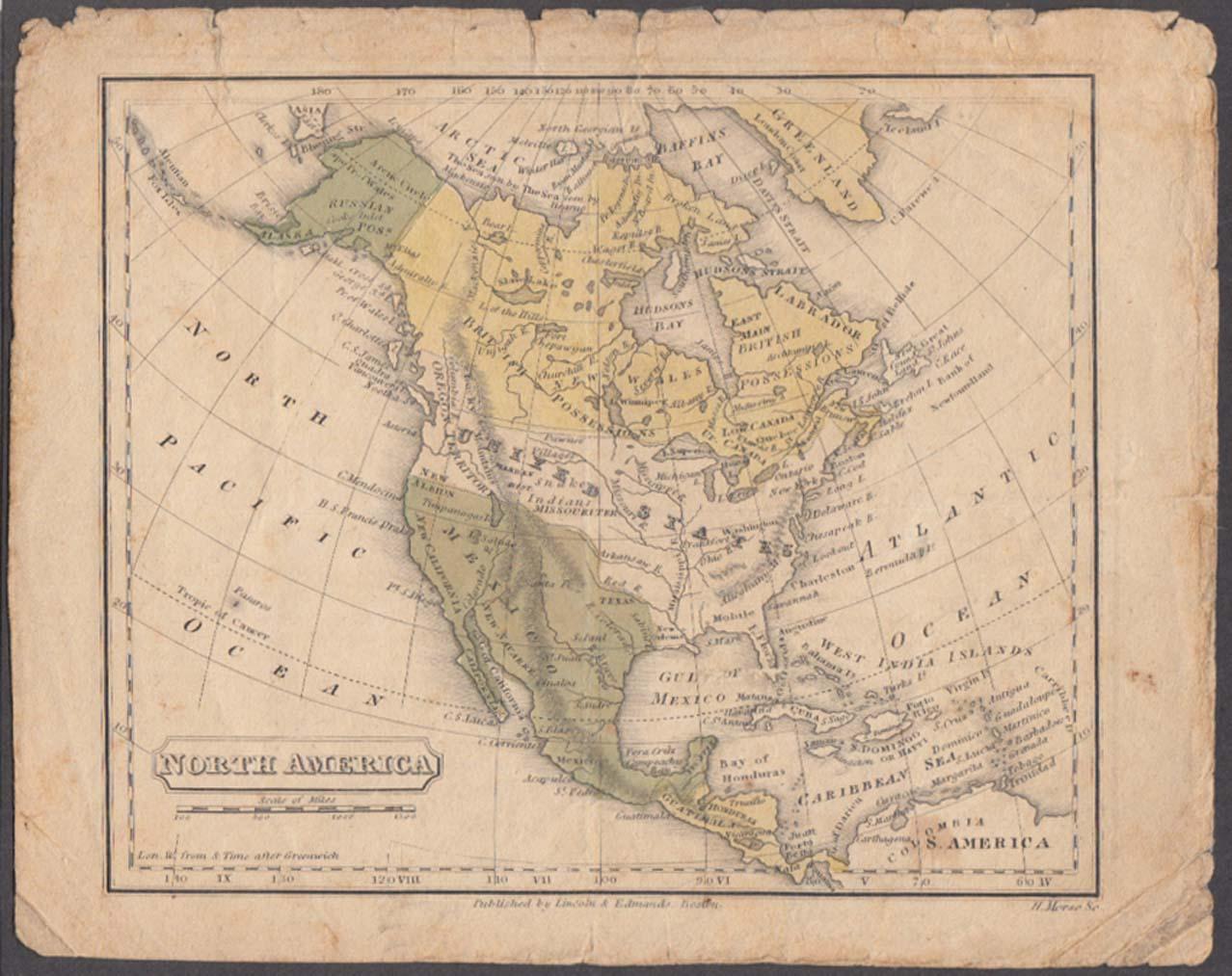 North America hand-colored map 1831 Lincoln & Edmands Boston School Atlas