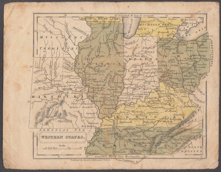 IL IN OH KY TN hand-colored map 1831 Lincoln & Edmands Boston School Atlas