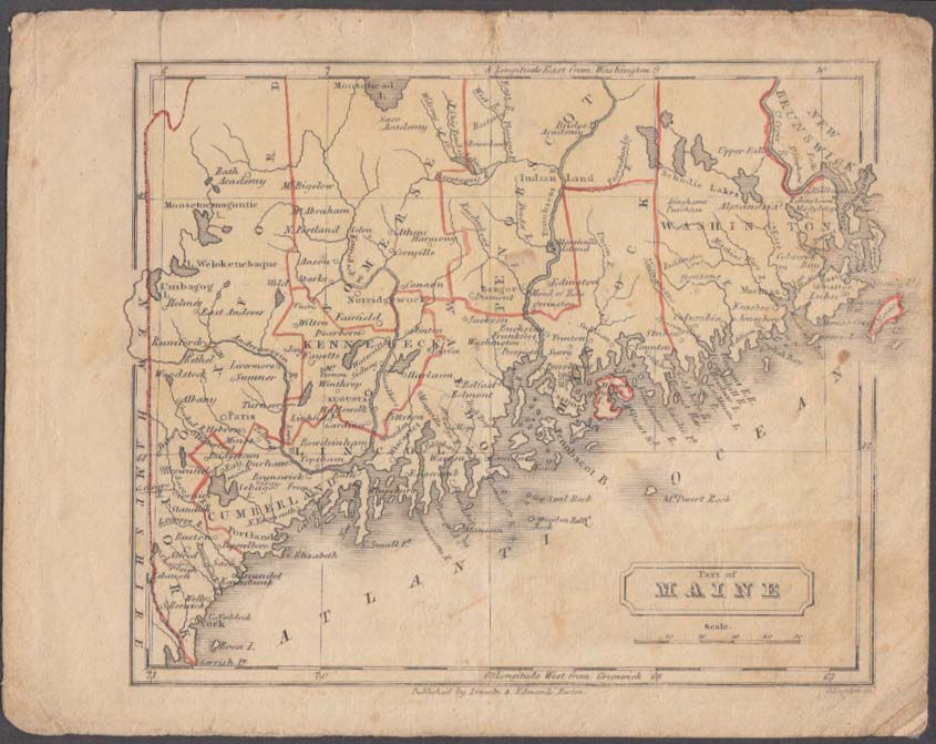 Lower Coast of Maine hand-colored map 1831 Lincoln & Edmands Boston School Atlas