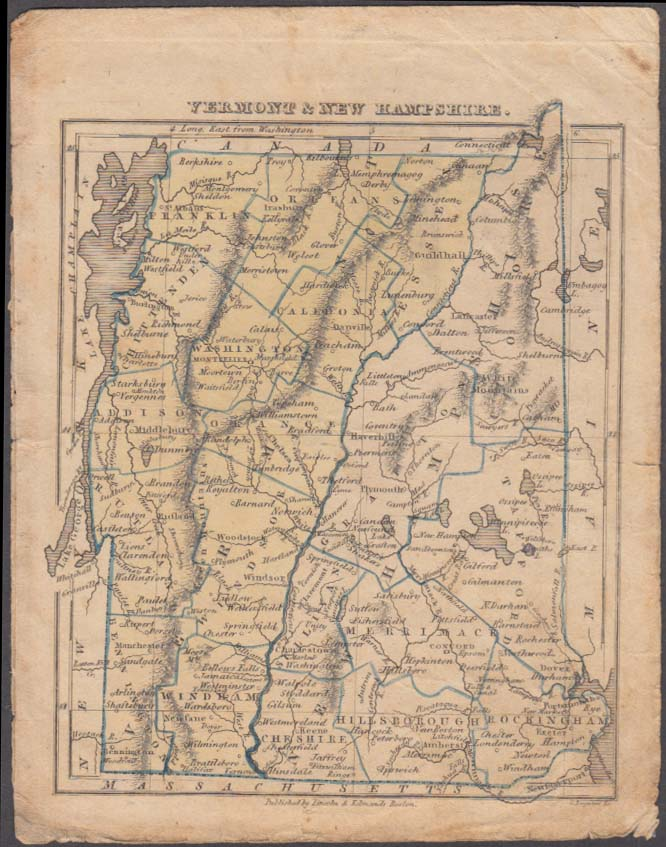Vermont & NH hand-colored map 1831 Lincoln & Edmands Boston School Atlas