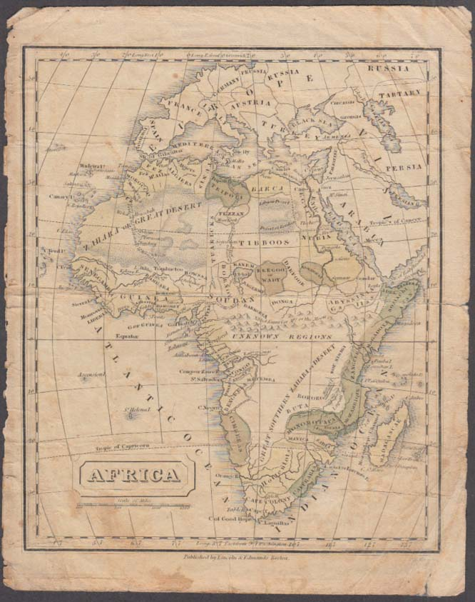 Continent of Africa hand-colored map 1831 Lincoln & Edmands Boston School Atlas