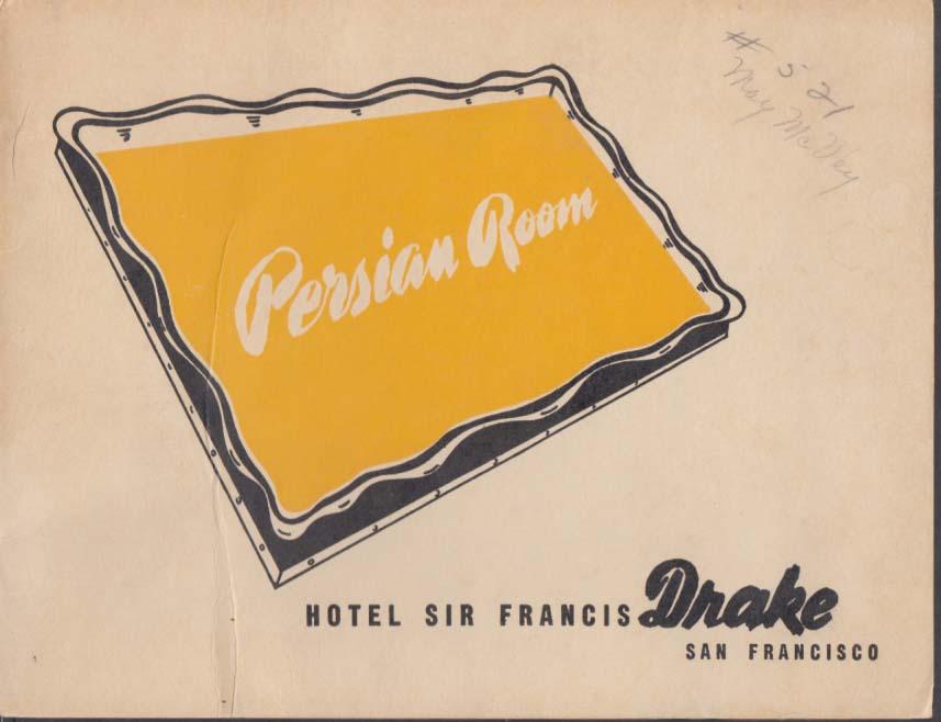 Hotel Sir Francis Drake Persian Room SF CA souvenir photo 1946 May McVey