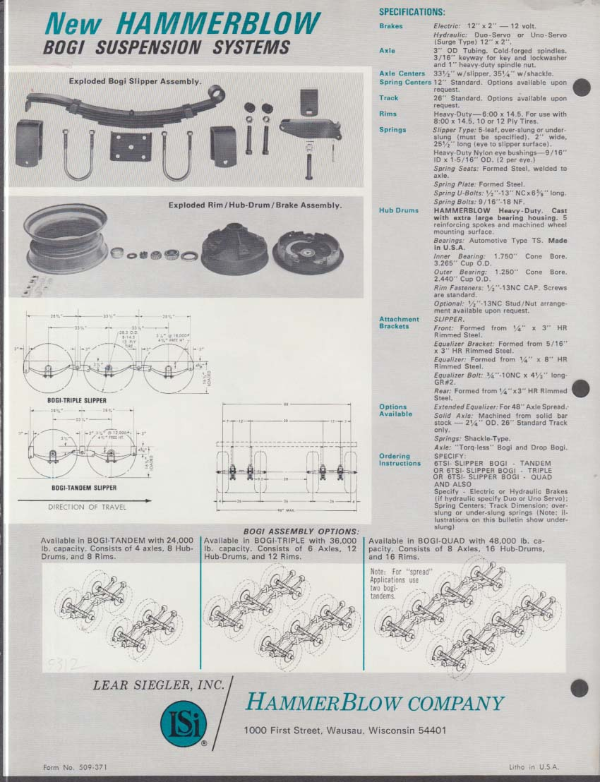 Bulldog Hammer Blow Extra Heavy-Duty Bogi Suspension System sell sheet 1972