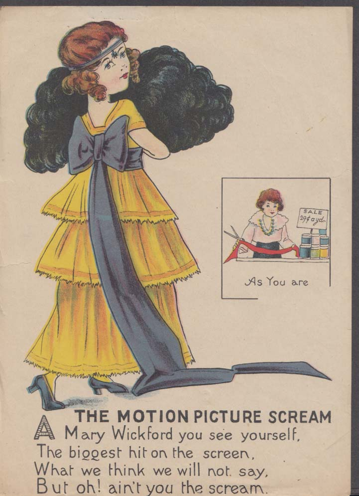 The Motion Picture Scream comic color print Mary Wickford Pickford 1920s