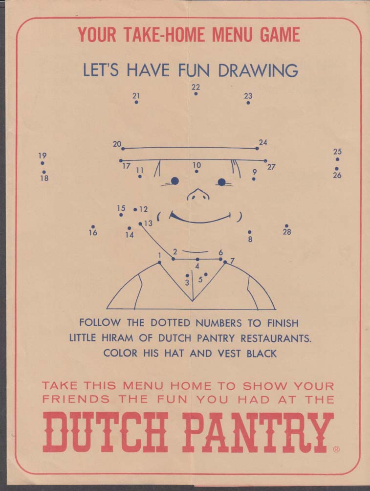 Dutch Pantry Family Restaurants Children's Game Menu 1964