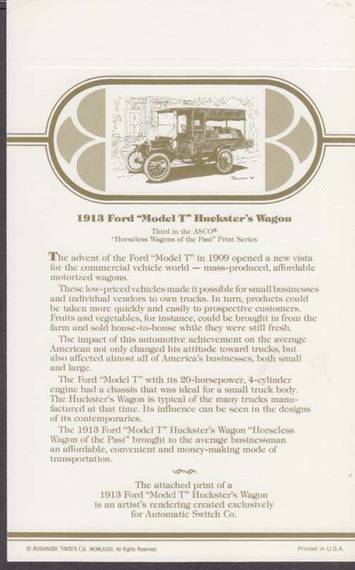 1913 Ford Model T Huckster's Wagon Automatic Switch color print 1982