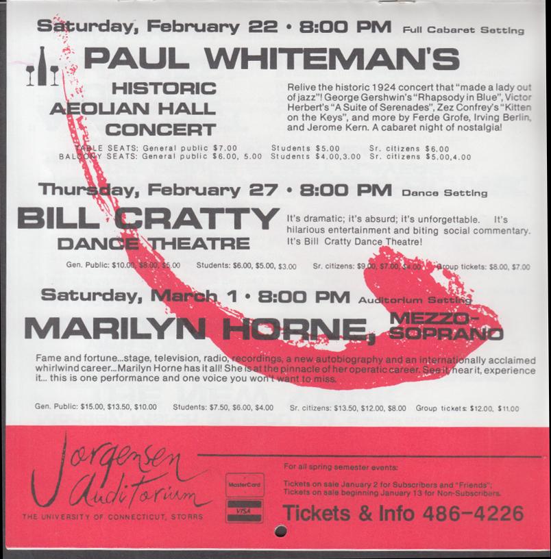 UConn Jorgensen Auditorium Paint the Town Red 1985-6 Season brochure