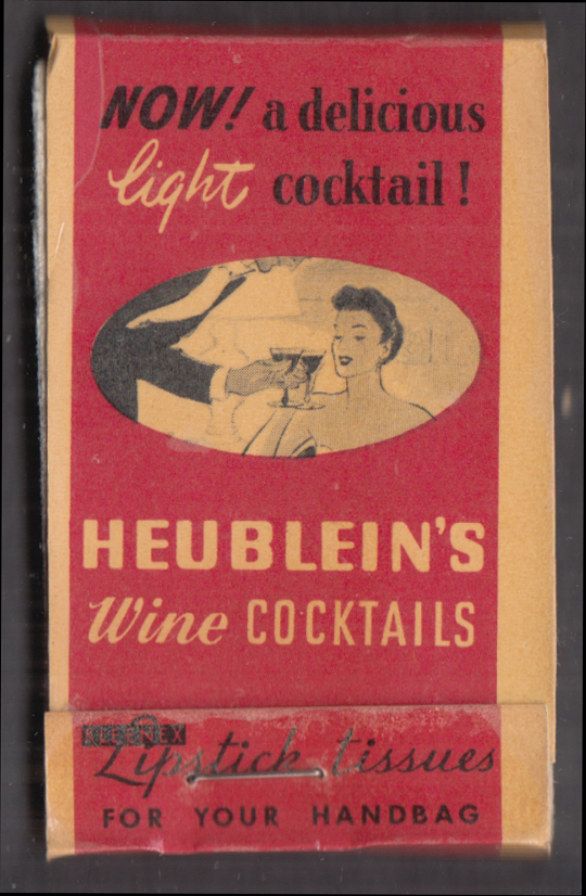Heublein Wine Cocktails lipstick tissues packet 1940s Hartford CT