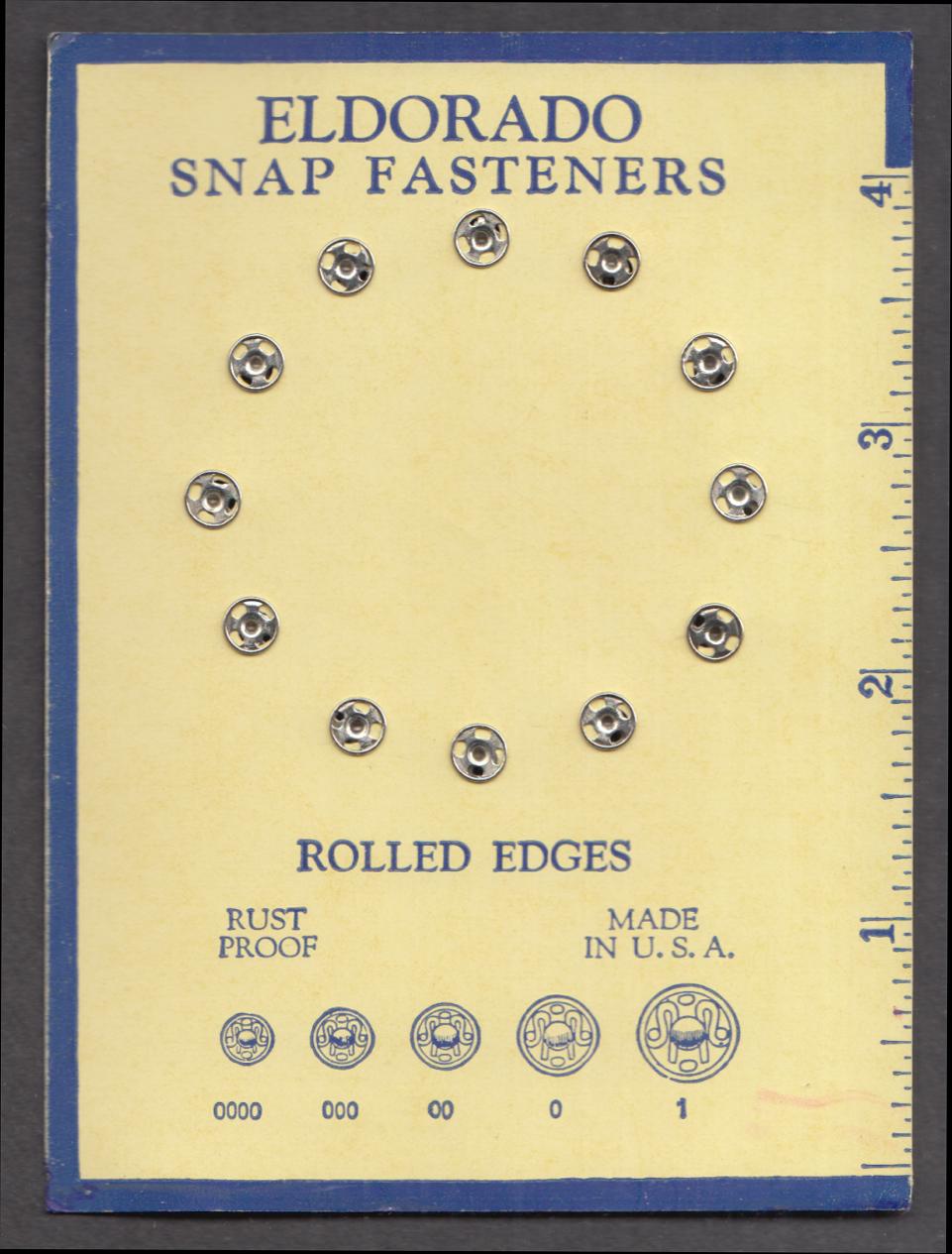 Scovill Oakville Division Eldorado Size 4/0 Snap Fasteners 1920s Waterbury CT