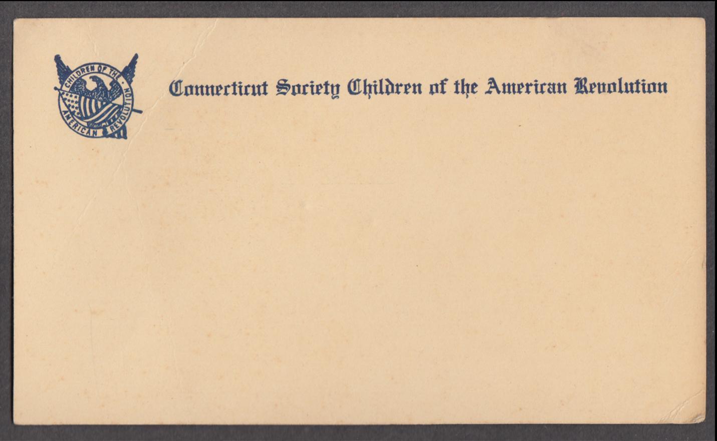 Connecticut Society Children of the American Revolution unused postcard 190?