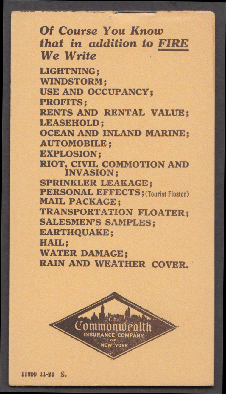 Fraser & Patch Insurance pocket memo pad Beverly MA 1924