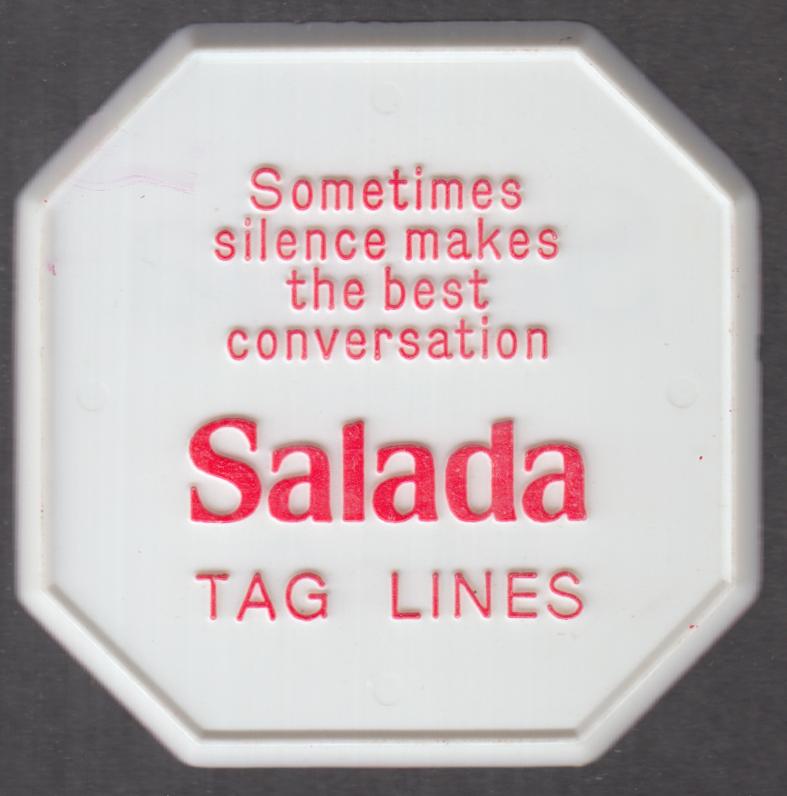 Salada Tea Tag Lines coaster Sometimes silence makes best conversation 1960s