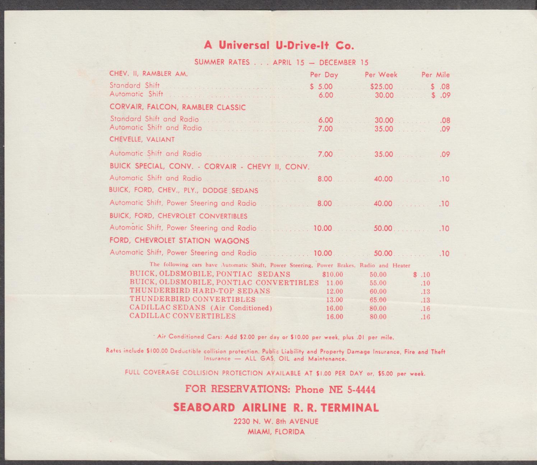 Seaboard Airline Railroad Universal U-Drive-It Rental Car folder 1962 Chevrolet