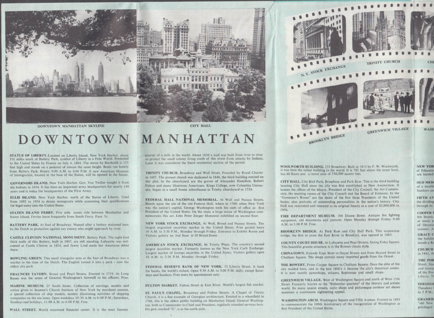 Visitors Guide & Street Map New York City 10 1958 sports entertainment