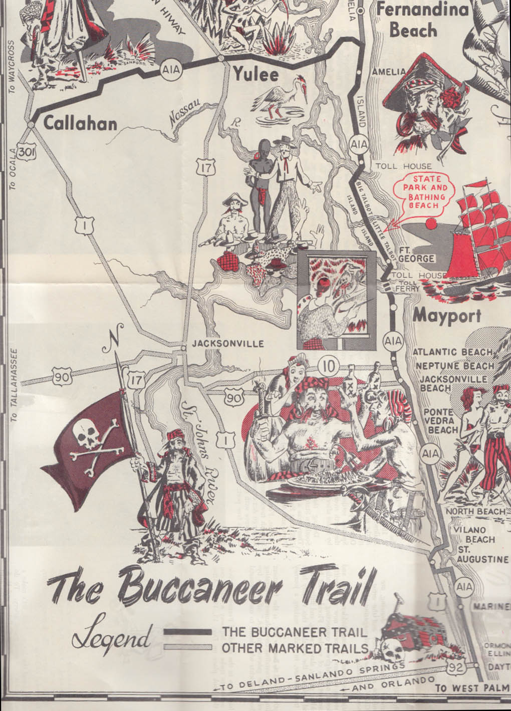 The Buccaneer Trail Florida Route A1A & St John's Ferry folder 1950s