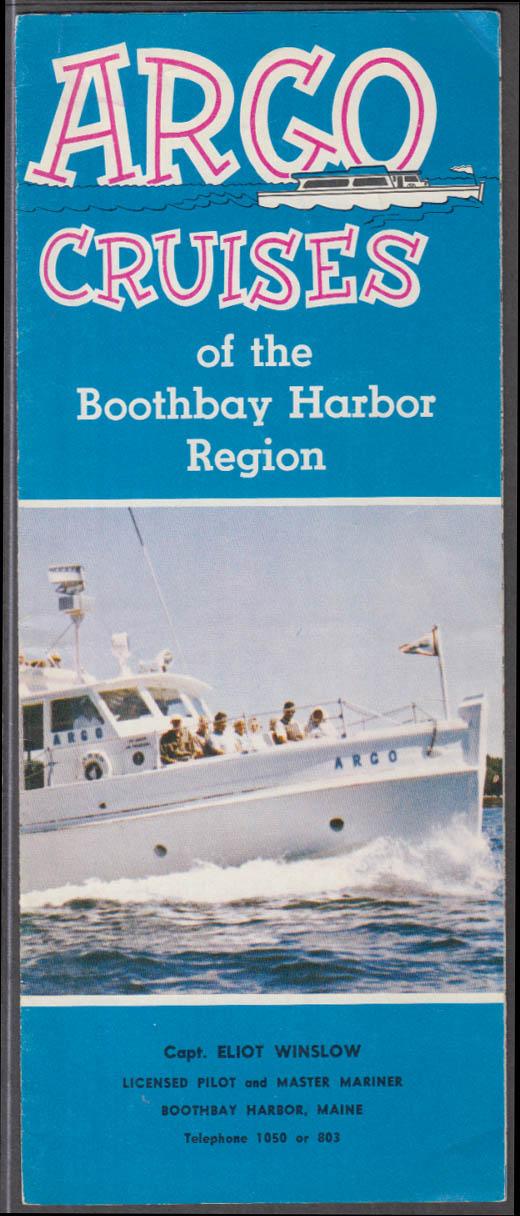 Argo Cruises Boothbay Harbod folder SIGNED Capt Eliot Winslow 1950s