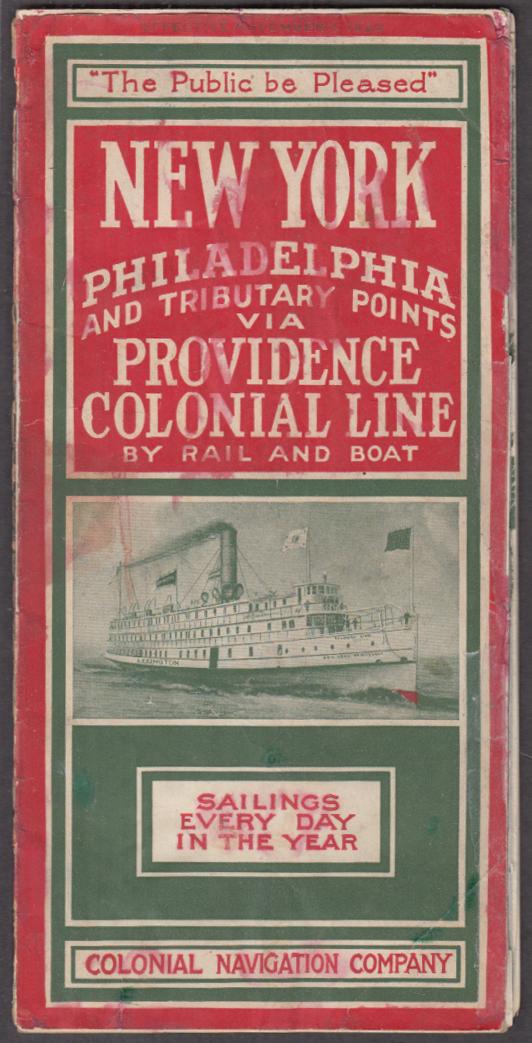 Colonial Navigation Steamship Line NY-Philadelphia-Providence schedule 1920