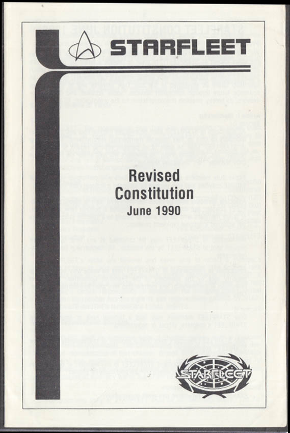 Starfleet Star Trek Fan Club Revised Constitution June 1990