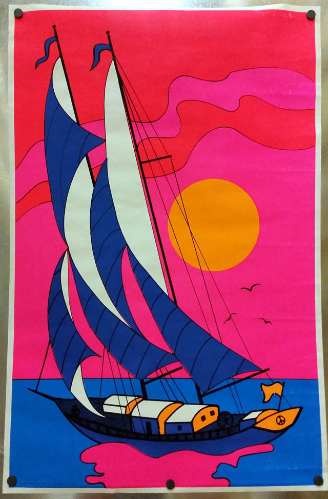1967 Poster Prints day-glo Ban the Bomb symbol sailboat poster psychedelic?