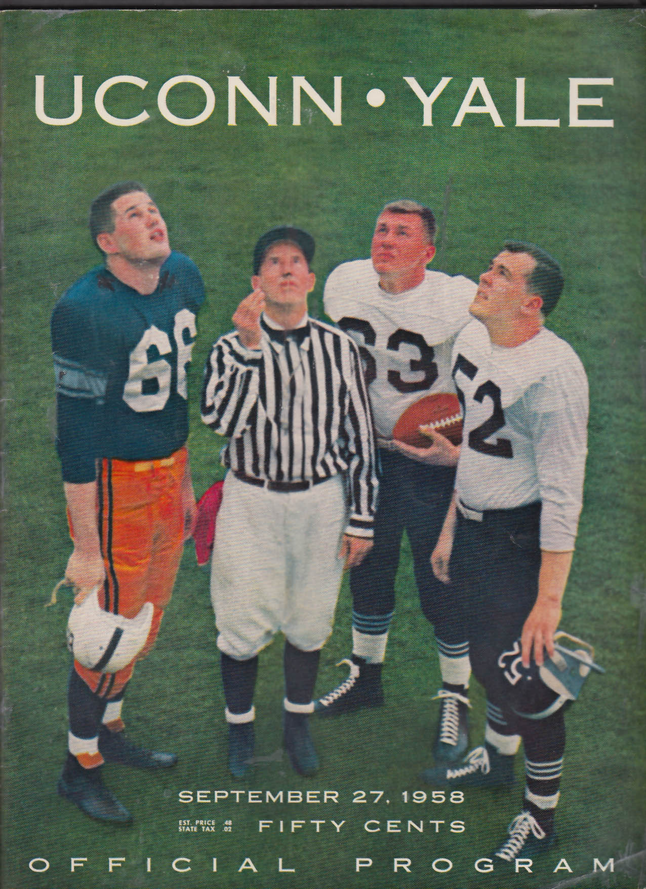 Uconn - Yale Official College Football Program 9/27 1958