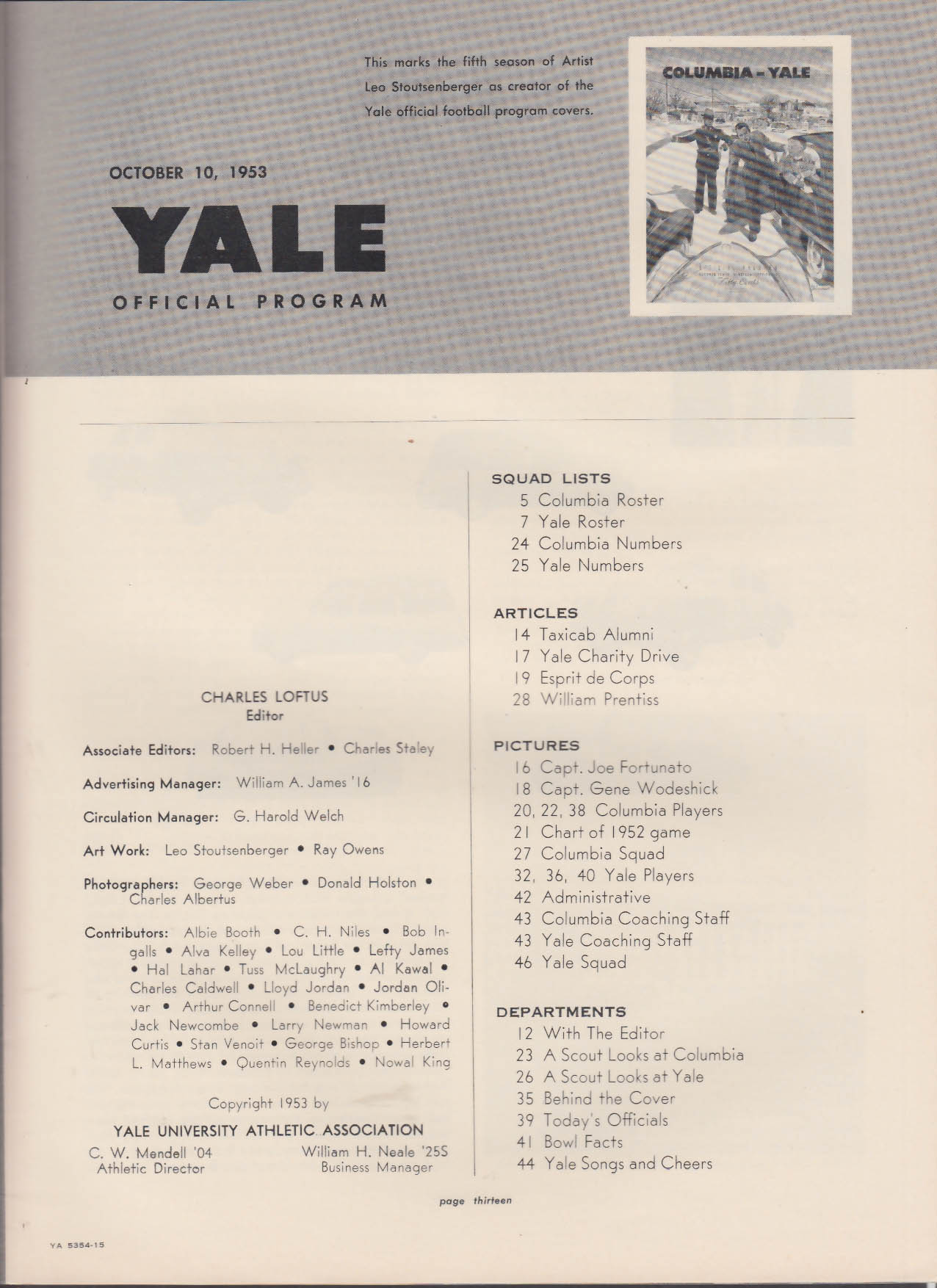Columbia - Yale Official College Football Program 10/10 1953