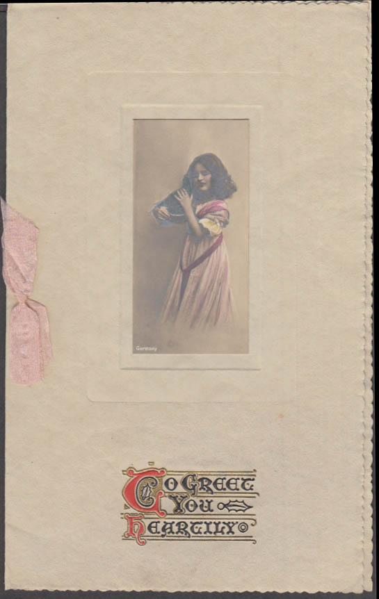 To Greet You Heartily Christmas Card w/ hand-tinted photo of girl 1909