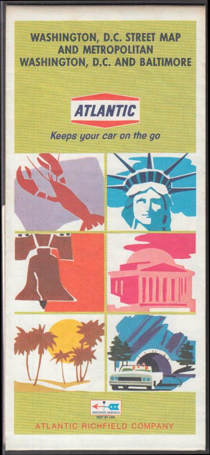 Atlantic Gasoline Road Map Washington DC Street Map Metro DC Baltimore 1968