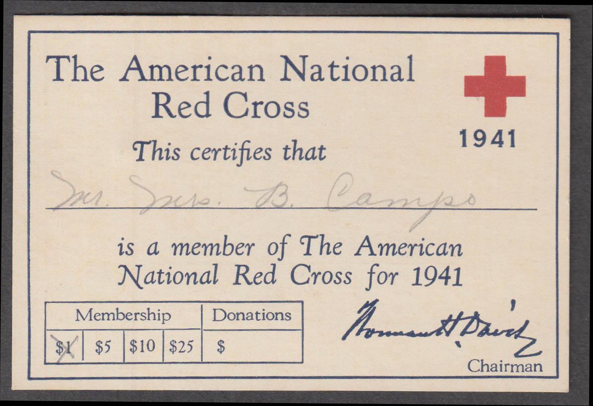 American National Red Cross Membership Card w/ calendar back