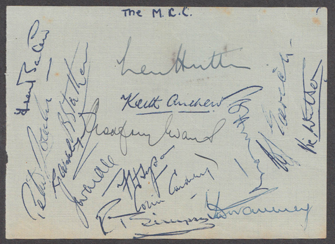 Marylebone Cricket Club MCC side 15 AUTOGRAPHS ca 1953 Hutton Cowdrey Evans ++