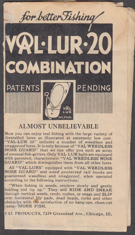 Val-Lur-20 Fishing Lures Plugs sales folder ca 1930s