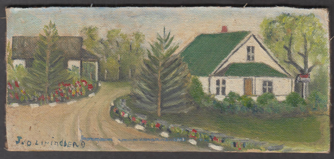 Image for Primitive oil painting of rural scene by J O Lindberg SIGNED lower left