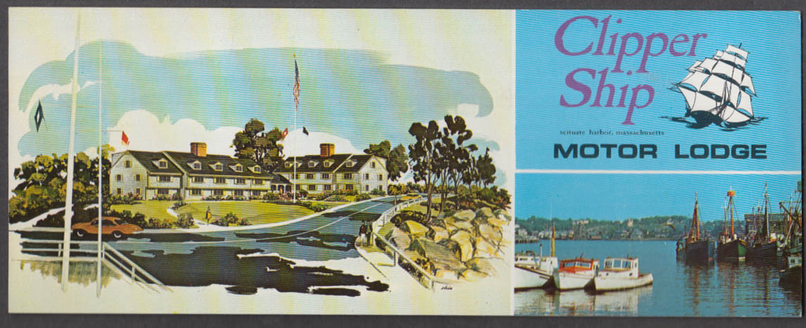 Clipper Ship Motor Lodge long postcard Scituate Harbod MA 1960s