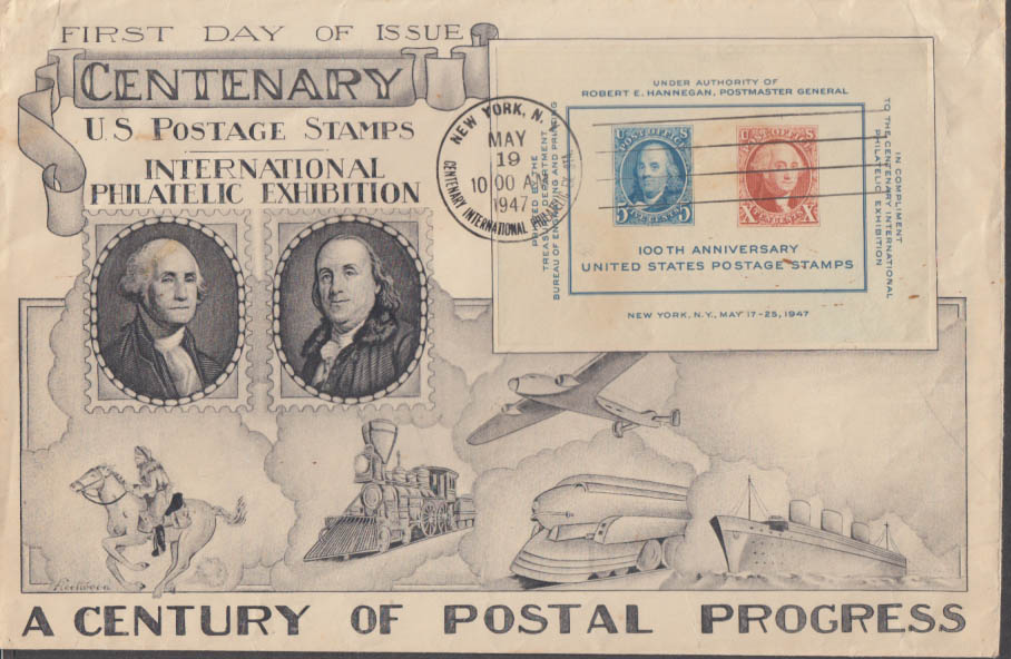 Centenary Century of Postal Progress Int'l Philatelic Exhibition FDC 1947