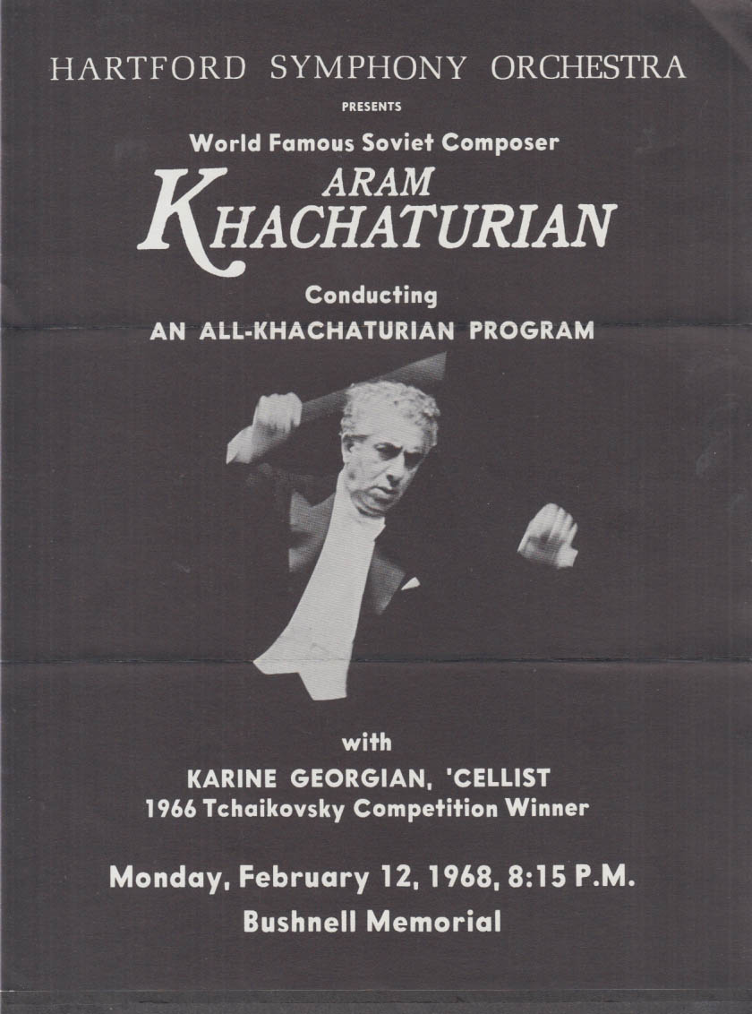 Aram Khachaturian & Cellist Karine Georgian Hartford Symphony CT flyer 1968