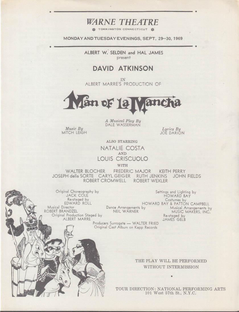 David Atkinson as Man of La Mancha program Warne Theatre Torrington CT 1969