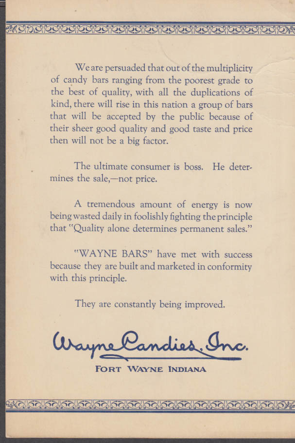 We are persuaded Wayne Candy Bars are best promo card Heit-Miller-Lau ca 1929