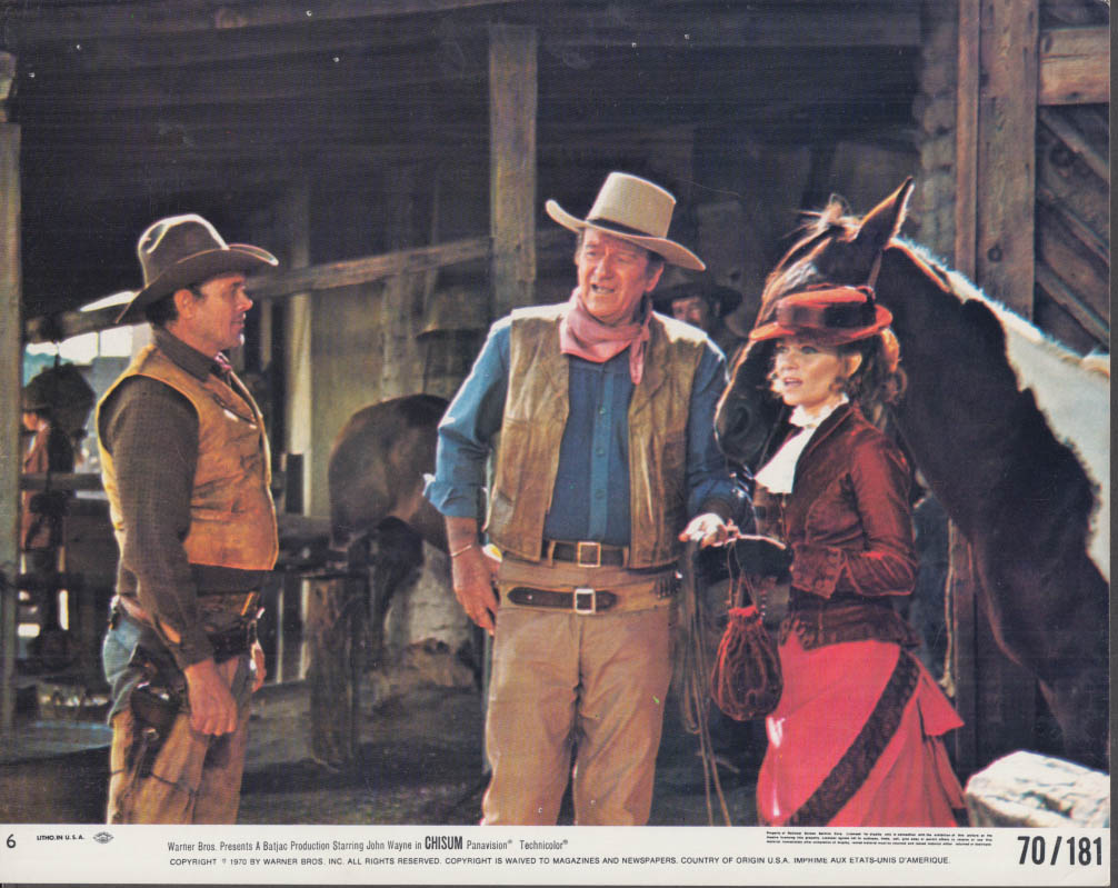 Ben Johnson John Wayne & Linda Day in Chisum lobby card #6 1970