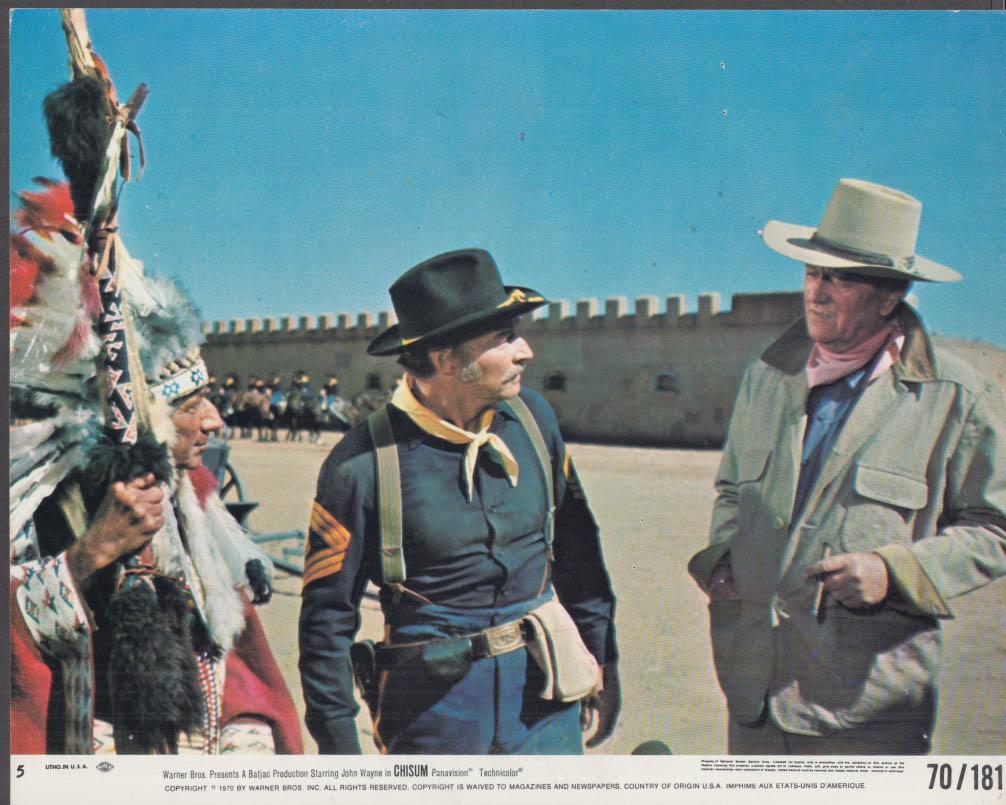 Abraham Sofaer John Pickard & John Wayne in Chisum lobby card #5 1970