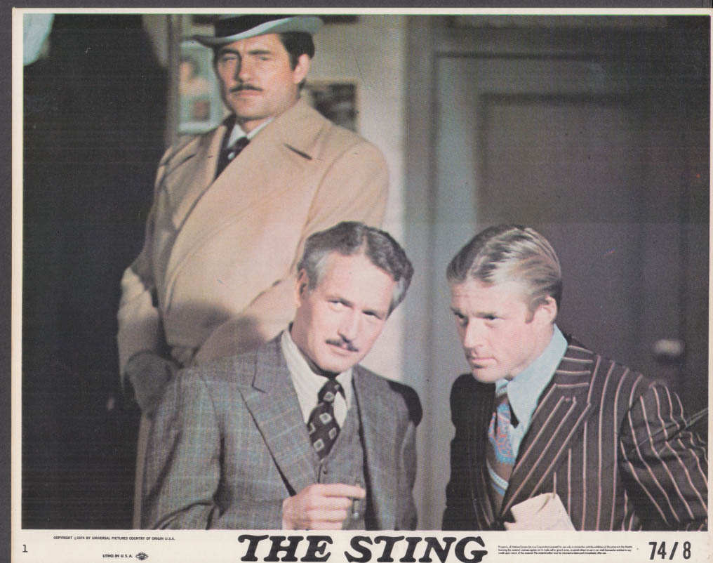Robert Shaw Paul Newman Robert Redford in The Sting lobby card #1 1974