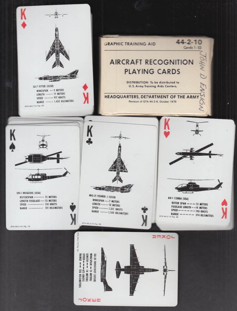 US Army Aircraft Recognition Playing Cards 44-2-10 10 1979