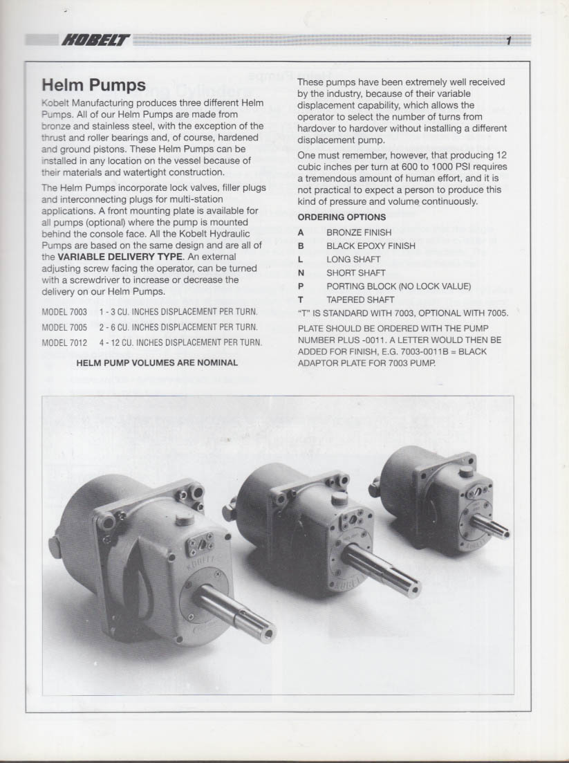 Kobelt Hydraulic Steering & Accessories for Marine Use Catalog 1993