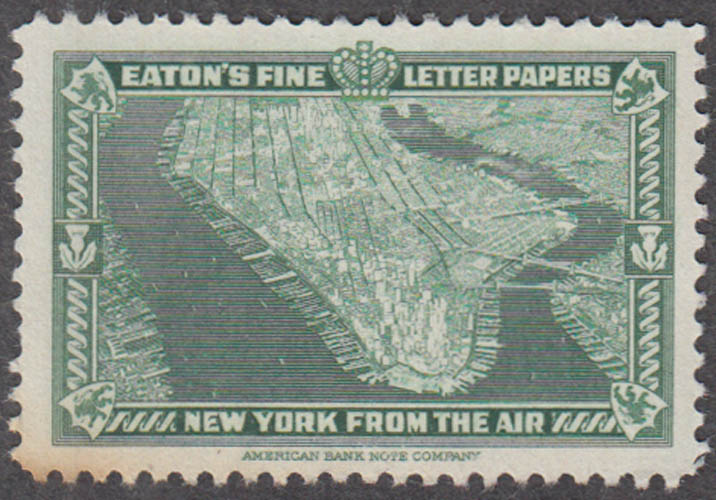 Eaton's Fine Writing Papers New York City from the Air cinderella stamp 1930s