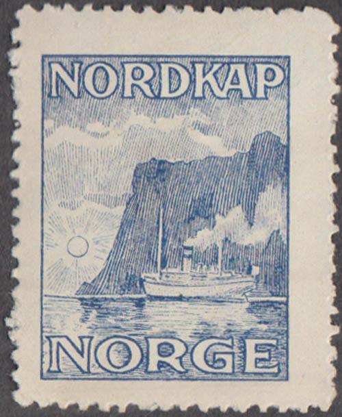 Nordkap Norge Norway cinderella stamp steamship in fjord