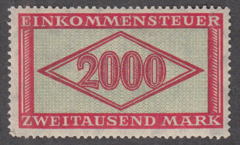 German Income Tax cinderella stamp Einkommensteuer Zweitausend 2000 Mark