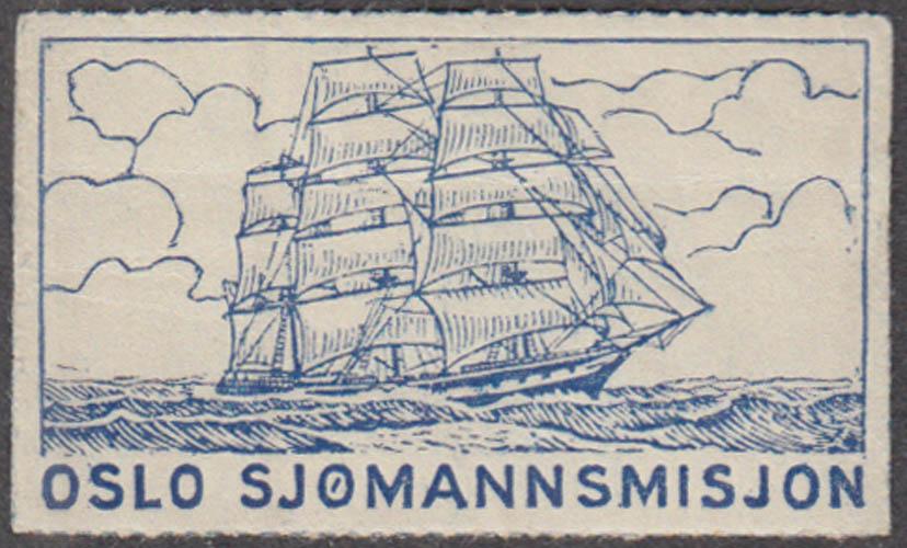 Oslo Sjomannsmisjon Norway cinderella stamp undated 3-masted schooner